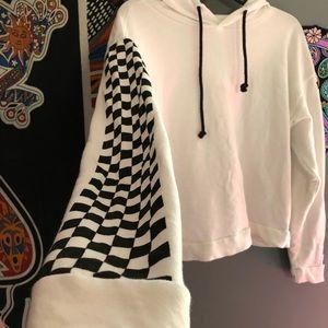 white checkerboard sleeve hoodie